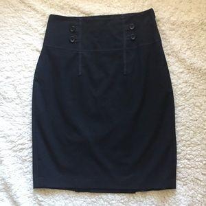 The Limited Button Ribbon High Waist Pencil Skirt